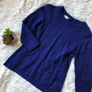 Talbots Blue 3/4 Sleeve Sweater